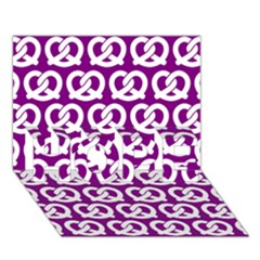 Purple Pretzel Illustrations Pattern Hope 3d Greeting Card (7x5)