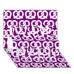 Purple Pretzel Illustrations Pattern Work Hard 3d Greeting Card (7x5)