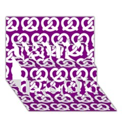Purple Pretzel Illustrations Pattern You Rock 3d Greeting Card (7x5)