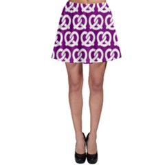 Purple Pretzel Illustrations Pattern Skater Skirts