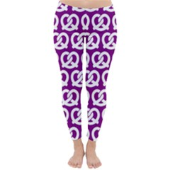 Purple Pretzel Illustrations Pattern Winter Leggings