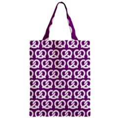 Purple Pretzel Illustrations Pattern Zipper Classic Tote Bags