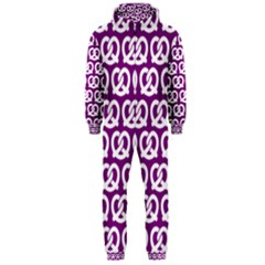 Purple Pretzel Illustrations Pattern Hooded Jumpsuit (Men)