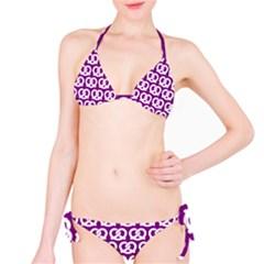 Purple Pretzel Illustrations Pattern Bikini Set