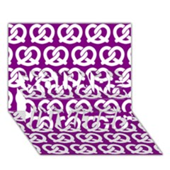 Purple Pretzel Illustrations Pattern YOU ARE INVITED 3D Greeting Card (7x5)