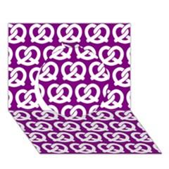 Purple Pretzel Illustrations Pattern Circle 3D Greeting Card (7x5)