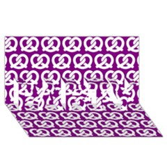 Purple Pretzel Illustrations Pattern PARTY 3D Greeting Card (8x4)