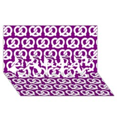 Purple Pretzel Illustrations Pattern SORRY 3D Greeting Card (8x4)