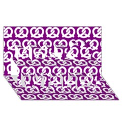 Purple Pretzel Illustrations Pattern Best Wish 3D Greeting Card (8x4)