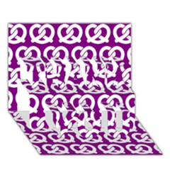 Purple Pretzel Illustrations Pattern Thank You 3d Greeting Card (7x5)