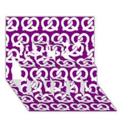 Purple Pretzel Illustrations Pattern Get Well 3d Greeting Card (7x5)