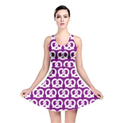 Purple Pretzel Illustrations Pattern Reversible Skater Dresses