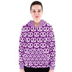 Purple Pretzel Illustrations Pattern Women s Zipper Hoodies