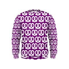 Purple Pretzel Illustrations Pattern Boys  Sweatshirts