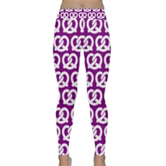 Purple Pretzel Illustrations Pattern Yoga Leggings