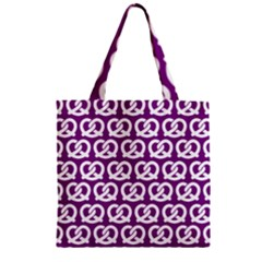 Purple Pretzel Illustrations Pattern Zipper Grocery Tote Bags