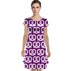 Purple Pretzel Illustrations Pattern Cap Sleeve Nightdresses