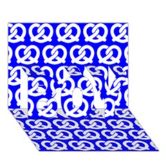 Blue Pretzel Illustrations Pattern Boy 3d Greeting Card (7x5)