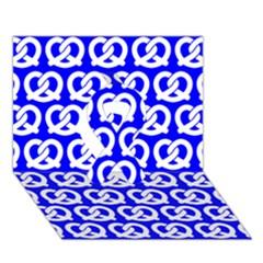Blue Pretzel Illustrations Pattern Ribbon 3D Greeting Card (7x5)