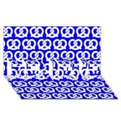 Blue Pretzel Illustrations Pattern BELIEVE 3D Greeting Card (8x4)
