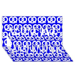 Blue Pretzel Illustrations Pattern Congrats Graduate 3D Greeting Card (8x4)