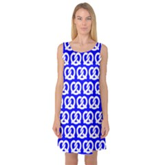 Blue Pretzel Illustrations Pattern Sleeveless Satin Nightdresses