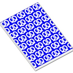 Blue Pretzel Illustrations Pattern Large Memo Pads