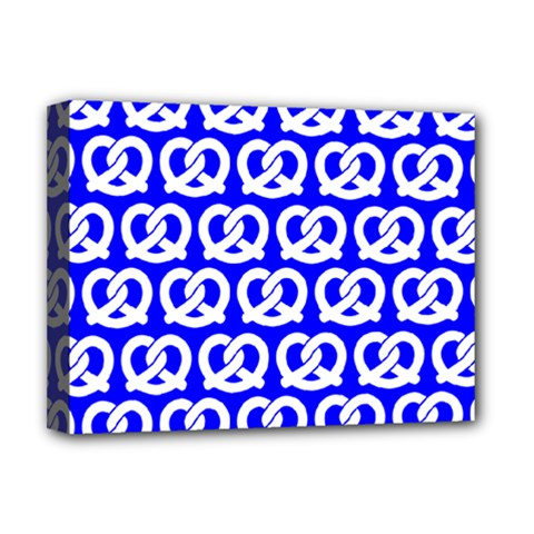 Blue Pretzel Illustrations Pattern Deluxe Canvas 16  x 12