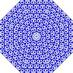 Blue Pretzel Illustrations Pattern Hook Handle Umbrellas (medium)