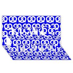 Blue Pretzel Illustrations Pattern Best Friends 3D Greeting Card (8x4)