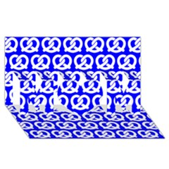 Blue Pretzel Illustrations Pattern MOM 3D Greeting Card (8x4)