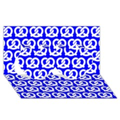 Blue Pretzel Illustrations Pattern Twin Hearts 3d Greeting Card (8x4)