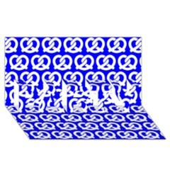 Blue Pretzel Illustrations Pattern PARTY 3D Greeting Card (8x4)