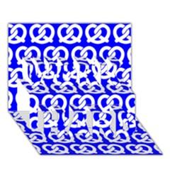 Blue Pretzel Illustrations Pattern Work Hard 3d Greeting Card (7x5)