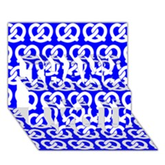 Blue Pretzel Illustrations Pattern Thank You 3d Greeting Card (7x5)