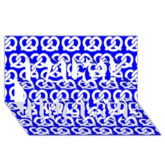 Blue Pretzel Illustrations Pattern Laugh Live Love 3d Greeting Card (8x4)