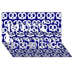 Navy Pretzel Illustrations Pattern Happy Birthday 3D Greeting Card (8x4)