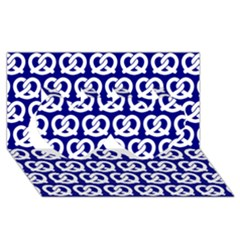 Navy Pretzel Illustrations Pattern Twin Hearts 3D Greeting Card (8x4)
