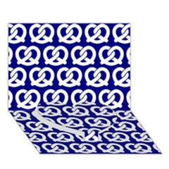 Navy Pretzel Illustrations Pattern Heart Bottom 3D Greeting Card (7x5)