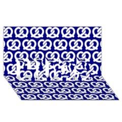 Navy Pretzel Illustrations Pattern HUGS 3D Greeting Card (8x4)