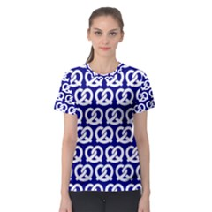 Navy Pretzel Illustrations Pattern Women s Sport Mesh Tees