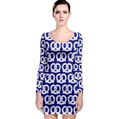 Navy Pretzel Illustrations Pattern Long Sleeve Bodycon Dresses