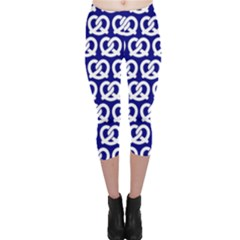 Navy Pretzel Illustrations Pattern Capri Leggings