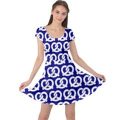 Navy Pretzel Illustrations Pattern Cap Sleeve Dresses