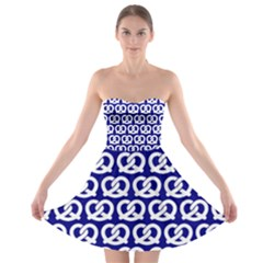 Navy Pretzel Illustrations Pattern Strapless Bra Top Dress