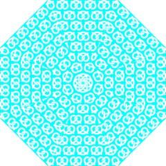 Aqua Pretzel Illustrations Pattern Folding Umbrellas