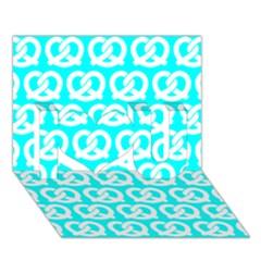Aqua Pretzel Illustrations Pattern I Love You 3d Greeting Card (7x5)