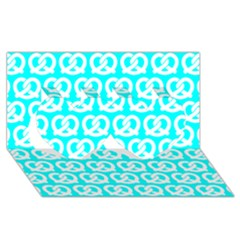 Aqua Pretzel Illustrations Pattern Twin Hearts 3D Greeting Card (8x4)