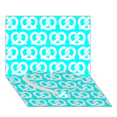 Aqua Pretzel Illustrations Pattern Heart Bottom 3d Greeting Card (7x5)