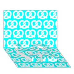 Aqua Pretzel Illustrations Pattern LOVE Bottom 3D Greeting Card (7x5)